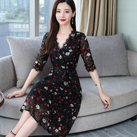 Black chiffon dress with flowers New style summer dress of 2019 with V collar elegant