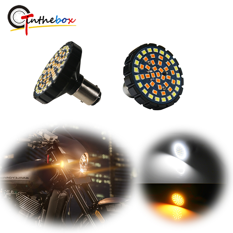 Gtinthebox 2-Inch White/Amber Switchback LED Front Turn Signal Light Bulbs For Harley Davidson Full Can-bus No Hyper Flash