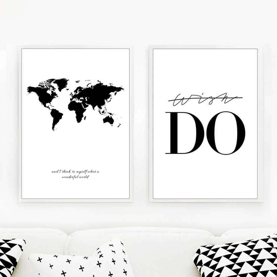 خريطة العالم قماش الرسم على لوحات القماش الجدارية أبيض وأسود طباعة ملصق الصور الزخرفية غرفة المعيشة غرفة الدراسة