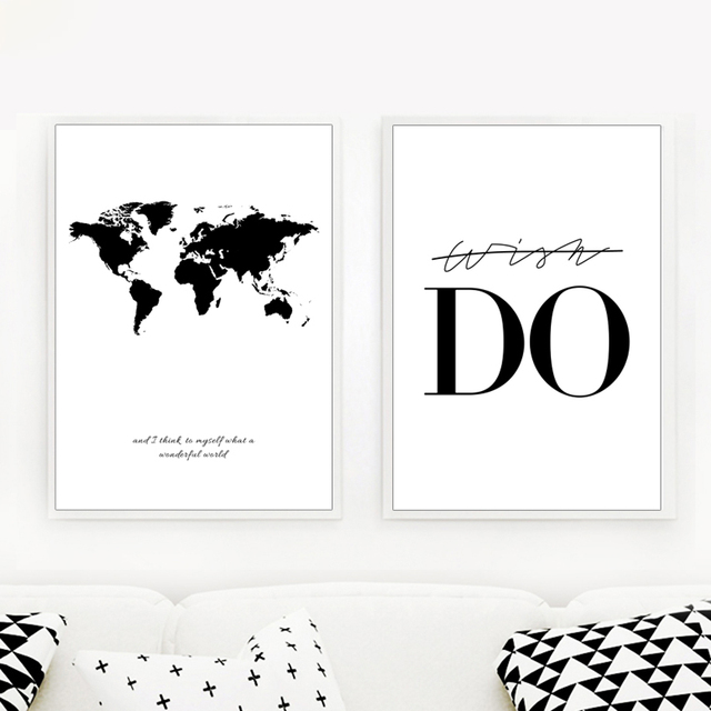 World Map Canvas Wall Art Canvas Painting Black And White Print Poster Decorative Pictures Living Room Study Room Uncategorized