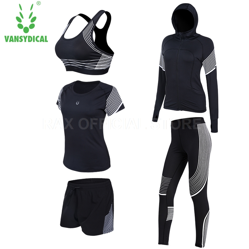 Vansydical Yoga Tracksuit For Women Yoga Legging 5pcs Women Sports Suit Yoga Legging Sport Bra Fitness Tights Femal Gym Clothing 2017 women yoga sets 3 pieces t shirt bra pants fitness workout clothing women gym sports tops running slim leggings sport suit