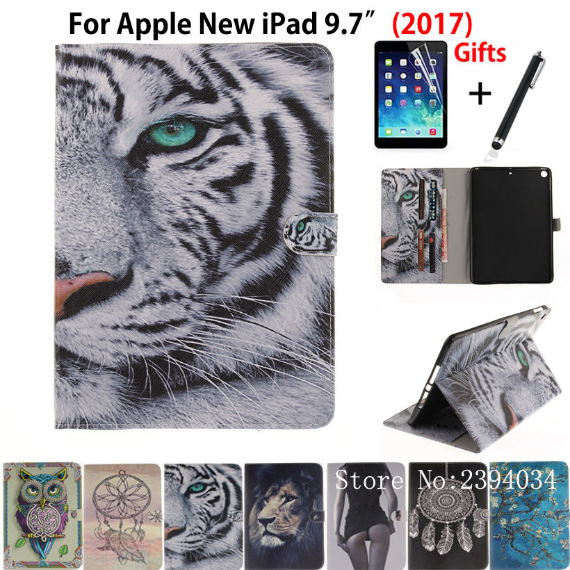 Cartoon Tiger pattern Case For Apple New iPad 9.7 2017 Smart Case Cover Funda Model A1822 PU Leather Stand Shell+Stylus+film for apple ipad air 2 pu leather case luxury silk pattern stand smart cover
