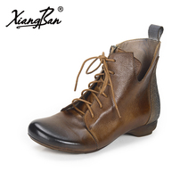 Xiangban Genuine Leather Martin boots 2018 Spring Autumn Women Boots Low Heels Lace Up Short Boots