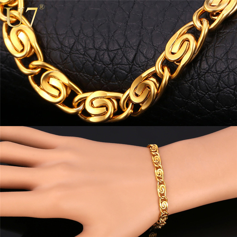 Gold Hand Chain Bracelet Men Jewelry 18K Gold Plated 316L Stainless