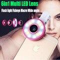 6in1 Flash LED Luz de ojo de Pez Ojo de Pez Gran Angular Macro Lente para Teléfonos Móviles para 5c iphone 6 s 6 7 plus 5 5S sí samsung s7 s6 borde