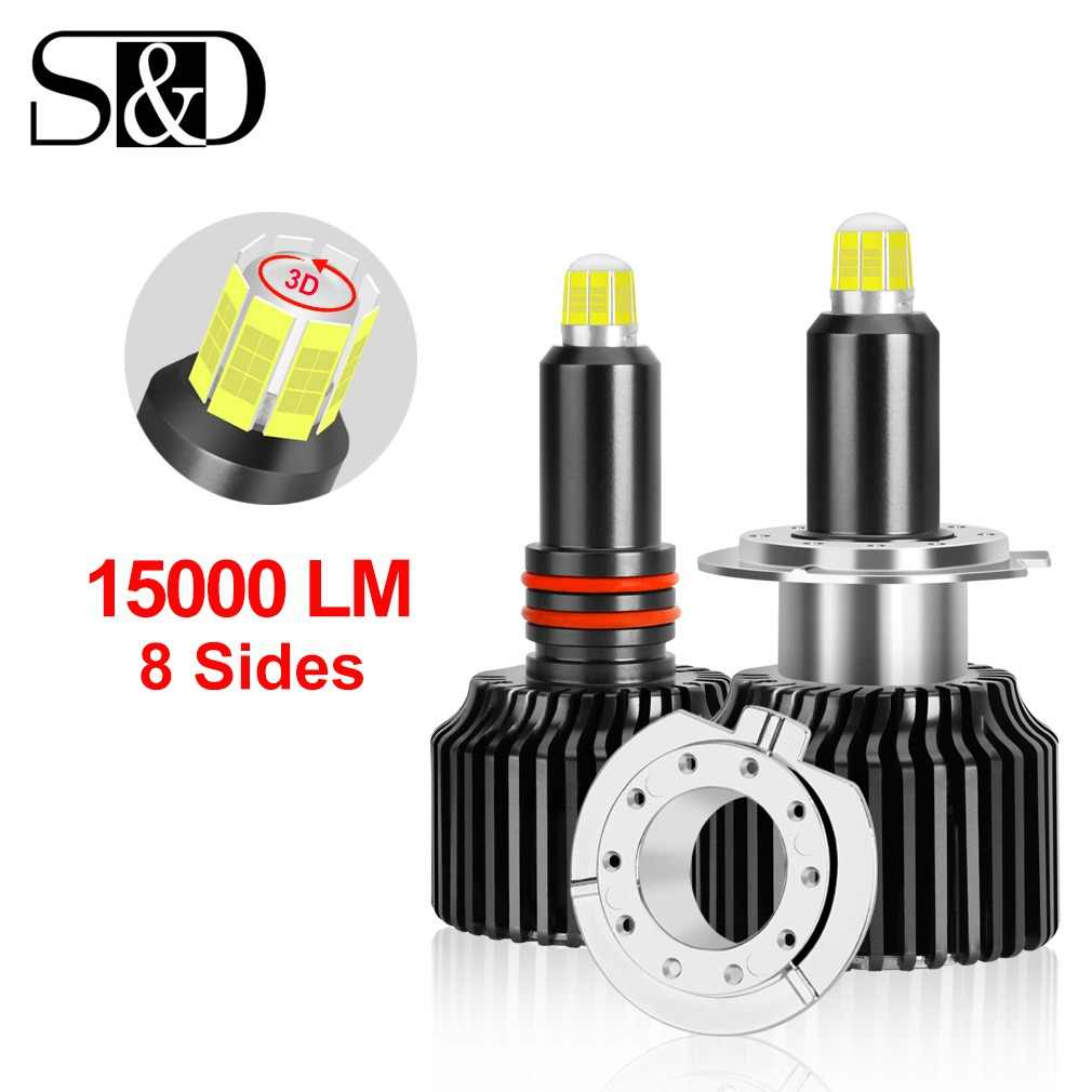 8 Sides 15000LM H11 H7 Led Car Headlights Bulbs 6000K H8 H1 HB3 9005 HB4 9006 50W 3D 360 degree Automotive Fog Lights Auto Lamp