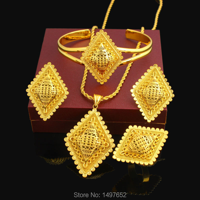 New Ethiopian Cross Jewelry Set 24K Gold Color Necklace/Pendant/Earring/Ring/Bangle African Bridal Wedding SetNew Ethiopian Cross Jewelry Set 24K Gold Color Necklace/Pendant/Earring/Ring/Bangle African Bridal Wedding Set