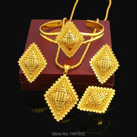 New Ethiopian Cross Jewelry Set 24K Gold Color Necklace/Pendant/Earring/Ring/Bangle African Bridal Wedding Set