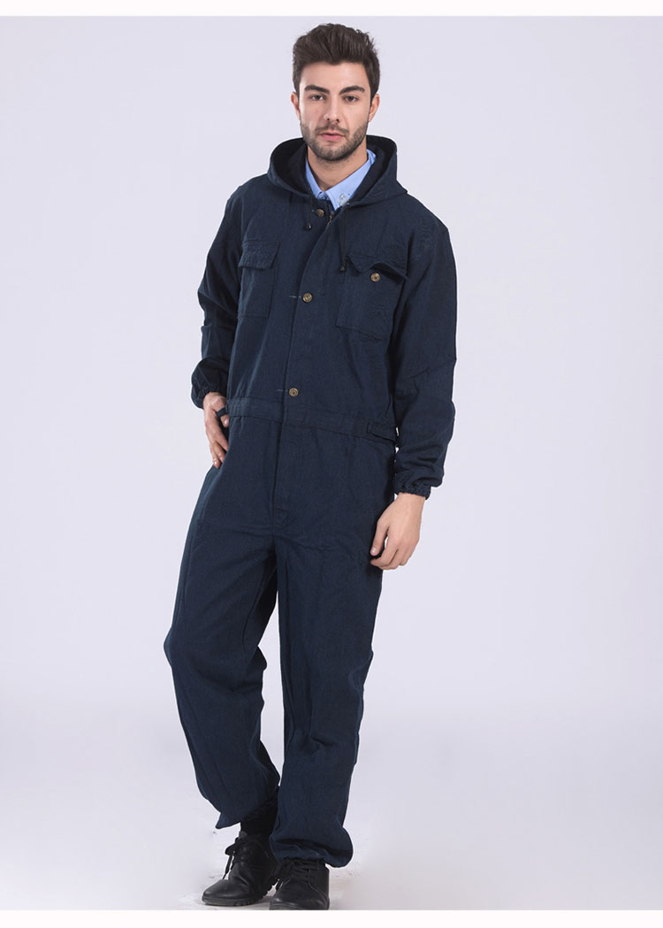Men Work Clothing Long Sleeve Large Size Denim Overalls High Quality Hooded Dust-proof Welding Auto Repair Protective Coveralls (10)