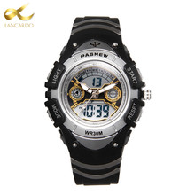 2017 Lancardo New Hot Children Sport Watch 30M Waterproof Wristwatches Kid Alarm Date Stopwatch Digital Analog Dual Display