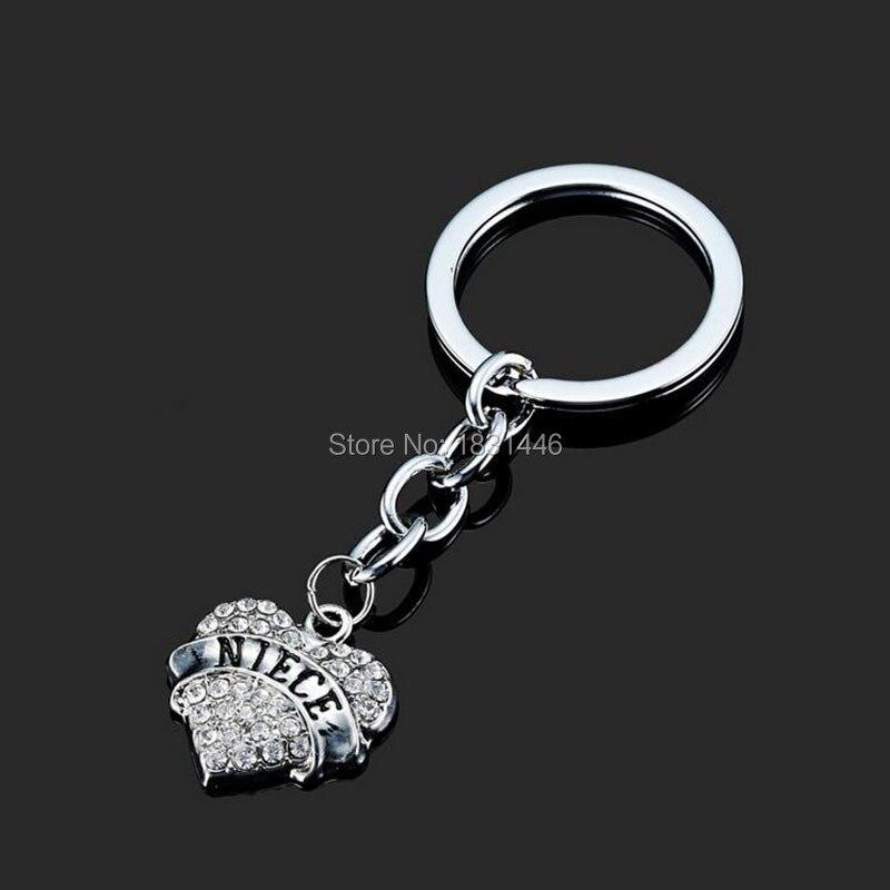 d18ec31b536af الفضة الوردي ريترو الفضة مطلي بيان العائلة هدية مجوهرات ابنة محفورة  المفاتيح البسيطة القلب كيرينغ للأطفال