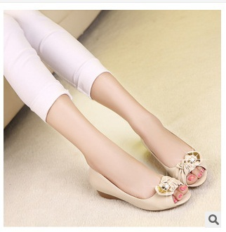 ФОТО Lady big size9 10 sexy low top sheepskin bow sequined knot soft leather peep toe wedges high heeled sandals shoes women pumps