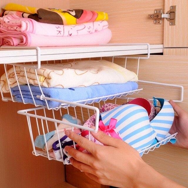 New Kitchen Hanging Cabinet Rack 1 Layer Under Shelf Holder Drawer Home  Book Magezine Storage Organizer