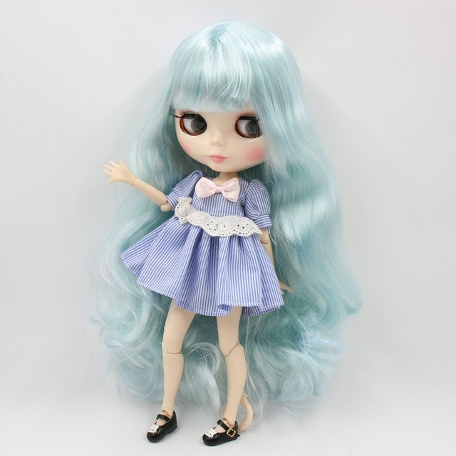 TBL Neo Blythe Doll Light Blue White Hair Jointed Body