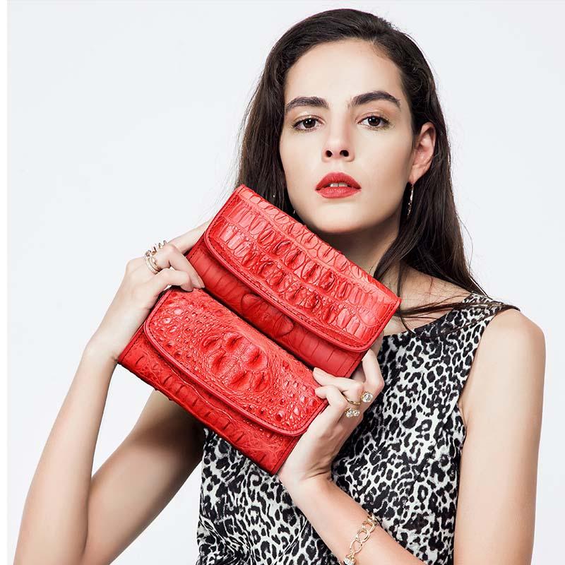 hlt  new thai crocodile women purse lady genuine leather women clutch bag with a large size women wallet