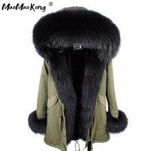 Mini Echte Bont Parka vrouwen jas winter Hooded Warm wasbeer bontjas Natuurlijke wasbeer bont casual Parkasfaux bont coatLining