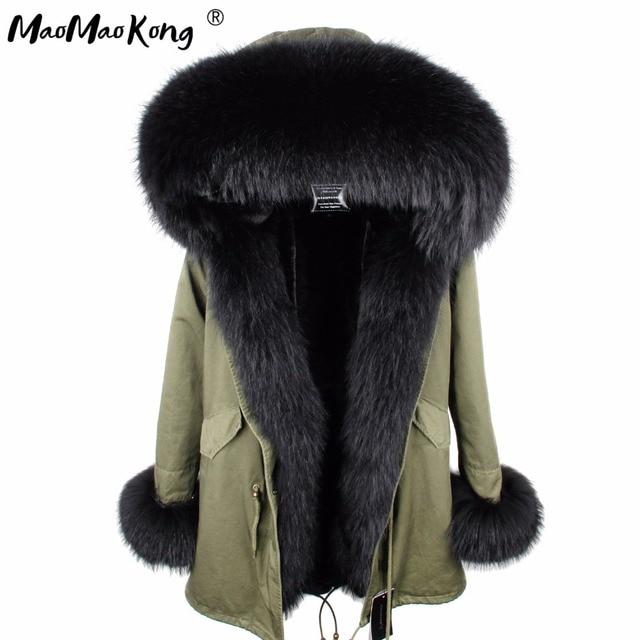 Mini Gerçek Kürk Parka kadın ceket kış Kapşonlu Sıcak rakun kürk ceket Doğal rakun kürk rahat Parkasfaux kürk coatLining