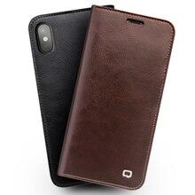 QIALINO Cas pour l'iphone X À La Main En Cuir Véritable Portefeuille Fente Pour Carte sac Cas pour l'iphone X De Luxe Ultra Mince Flip Couverture 5.8-pouces