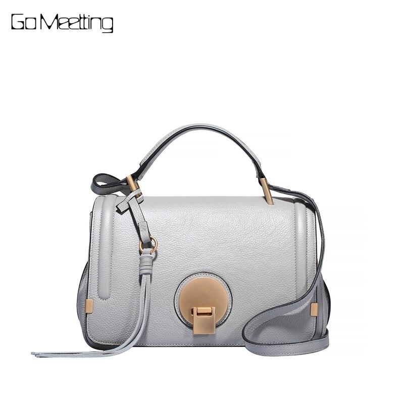 Go Meetting Genuine Leather Ladies Handbags Women Messenger Bags for women 2018 Totes Tassel Designer Cross body Shoulder Bag