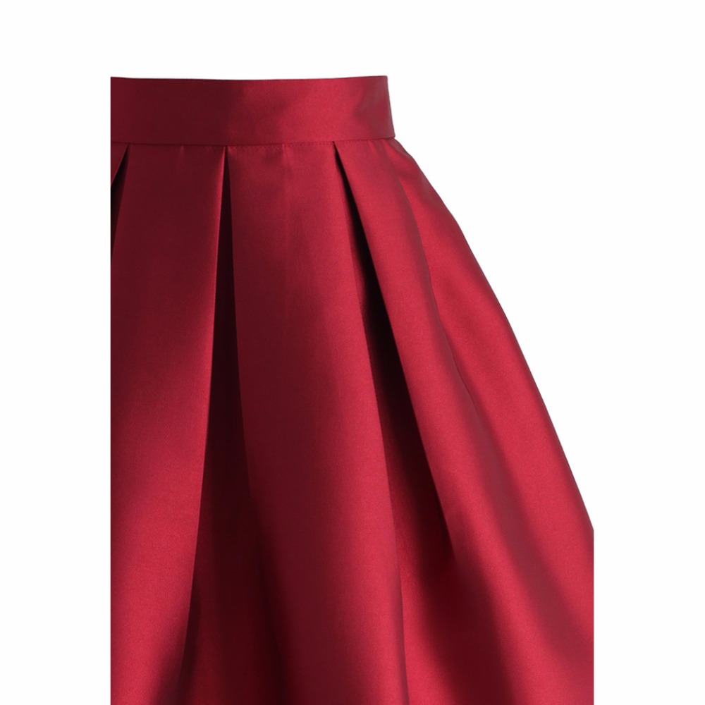3a9b9a2b88 High Quality Red Satin Skirt Zipper Waistline A Line Knee Length Pleated  Skirt Customized Women Skirts For Autumn Winter-in Skirts from Women's  Clothing on ...