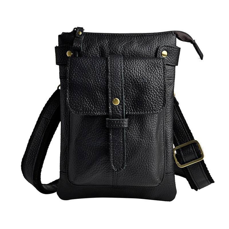 2017 New Punk Vintage Casual Genuine Leather Small Waist Bag Pack Shoulder Messenger Bag Unisex Waist Bag Men Cell Phone Bag
