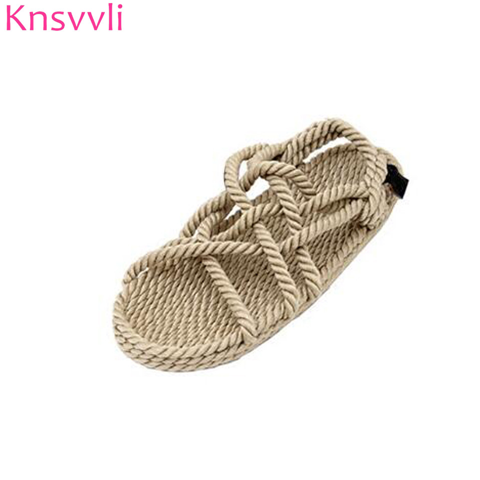 Knsvvli straw lazy shoes women flat fiberflax hand woven sandals woman peep toe beach shoes twine cane knot rome shoes summer woven design straw flat sandals