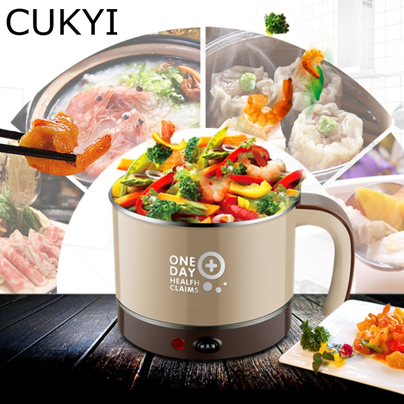 CUKYI household electric nonstick skillet Student dormitory mini multifunction pot cooker electric cup 1.5L Electric Hot pot cukyi household electric nonstick skillet student dormitory mini multifunction pot cooker electric cup 1 5l electric hot pot