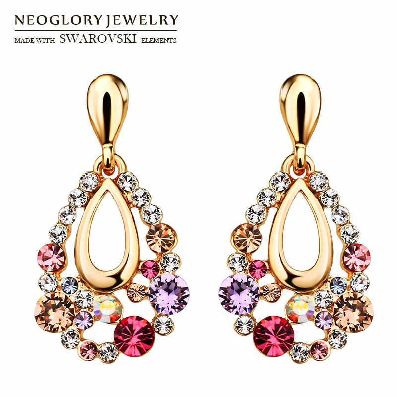 Neoglory Austria Rhinestone Long Earrings Water Drop Style Colorful Design Party Gift Trendy Classic Rose Gold Color Holiday