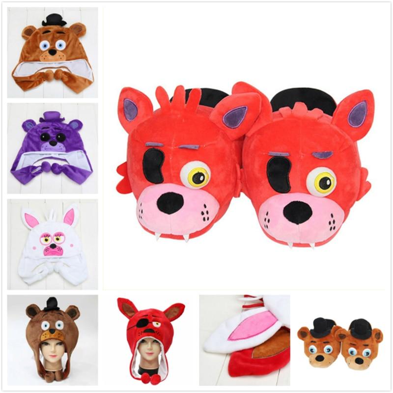 FNAF Five nights at freddys freddy bear chica foxy fox Mangle Bonnie Bunny cosplay cap hat cosplay plush stuffed toys fnaf toys