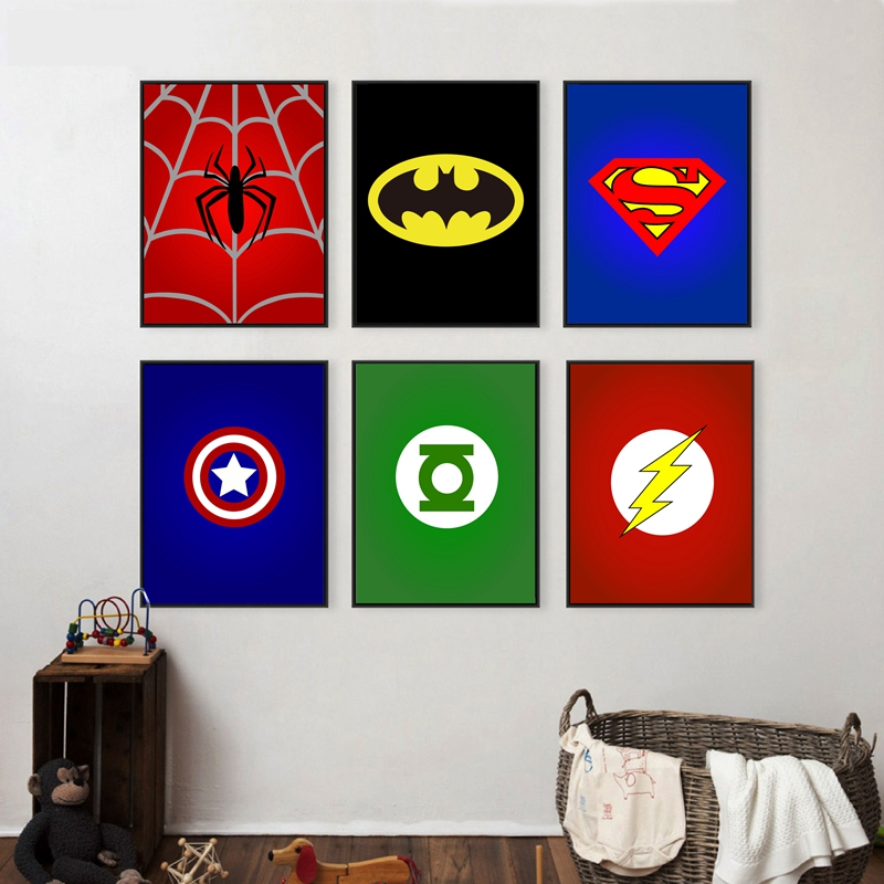 Superhero Avenger Batman Spiderman Canvas Painting For Kids Boy Room Colorful Art Print Poster