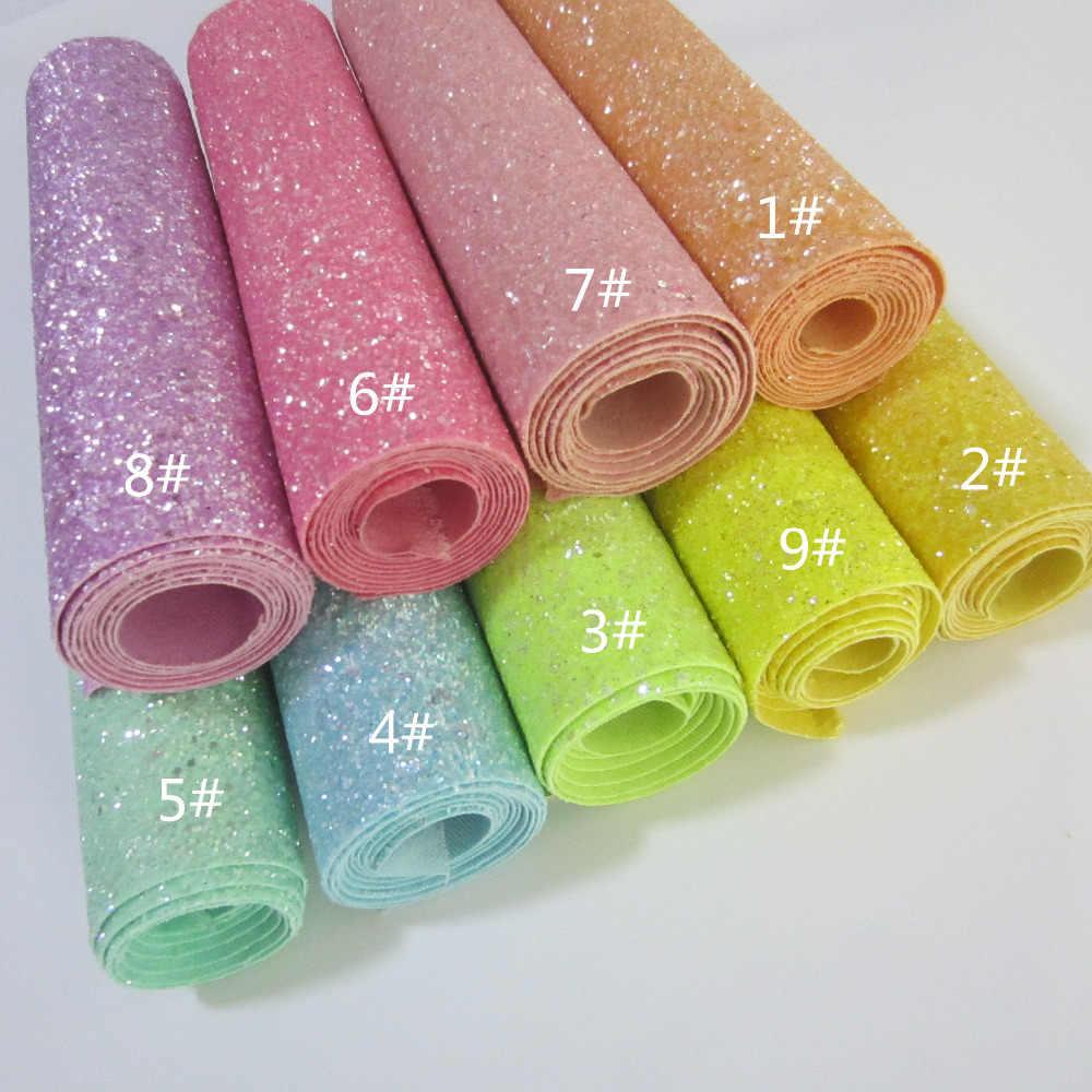 """Folha A4 8 """"X 11.8"""" Chunky Glitter Tecido jogo protetor glitter Falso tecido de Couro PU para bow diy decoração artesanato 1 peças F0022"""