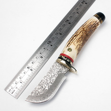 Damascus Handmade Knife Forged Damascus Steel Blade Outdoor Hunting Knife antlers handle Camping survival tools Free shipping