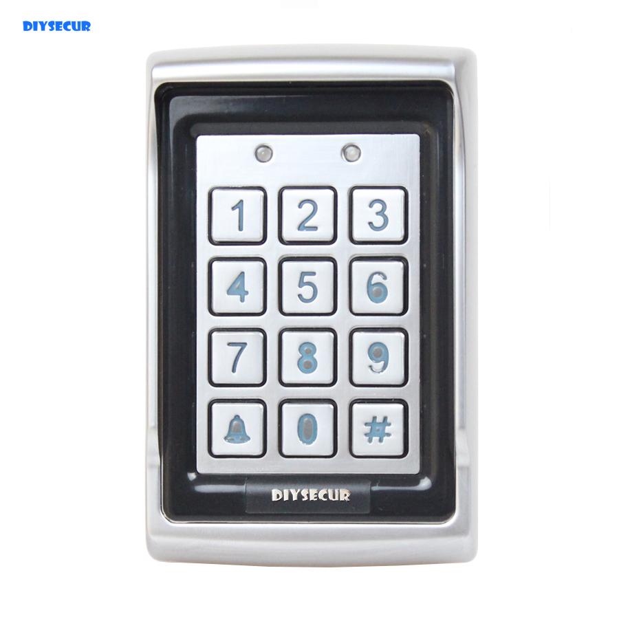 DIYSECUR Access Controller Metal Case Password ID Card Reader 125KHz RFID Access Control Keypad BC400 diysecur lcd 125khz rfid keypad password id card reader door access controller 10 free id key tag b100