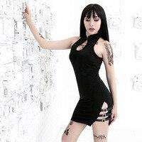 Gothic Darkness Style Sexy Women's Belt Buckles Black Cheongsam Rock Punk Chinese Qipao Vintage Dress Lolita Japanese Slim Qipao