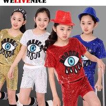 Niñas lentejuelas ojo grande Salón Modern Jazz hip hop danza trajes para  niños camiseta Tops Pantalones cortos Ropa de baile rop. 674da8a783f