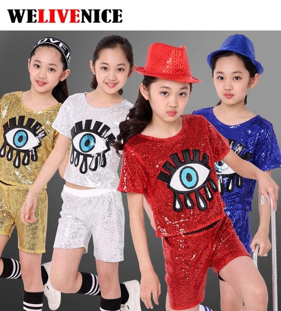 Niñas lentejuelas ojo grande Salón Modern Jazz hip hop danza trajes para  niños camiseta Tops Pantalones 126146590dd