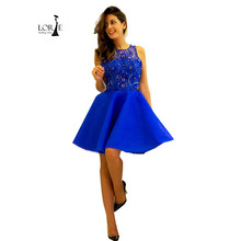 Kurz Blau ballkleider 2017 vestido curto O-ansatz A Line Royal Blue Backless Perlen Graduation Homecoming Cocktail Kleider