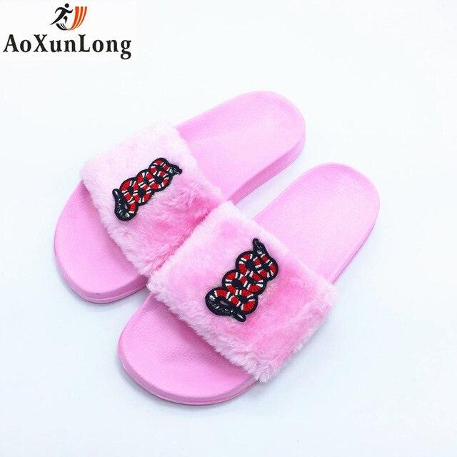 8f074735 AoXunLong New Fur Slipper Women Cute Snake Slides Home Slippers Furry  Indoor Flip Flops Women Pink 36-41 Slipper Flip Flop Hot