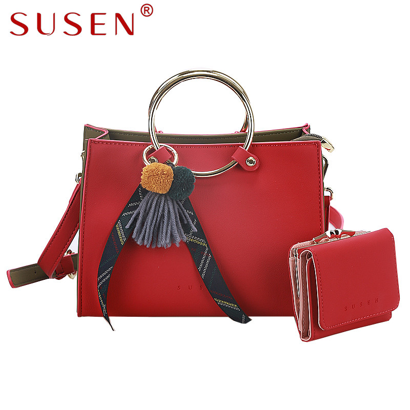 SUSEN 1044 Women Handle Shoulder Bag PU Leather Simple Fashion Bag Small Messenger Bag font b
