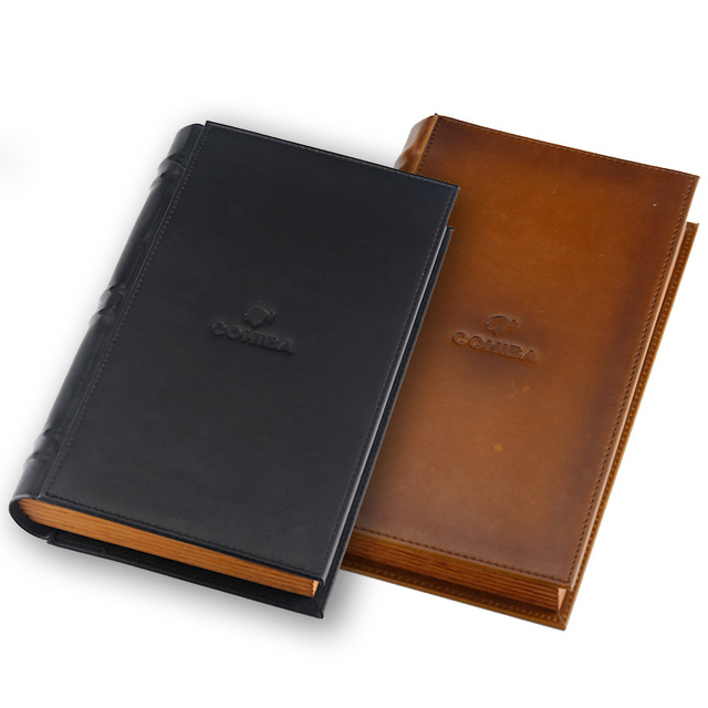 Brown Leather Book Style Cedar Lined Cigar Holder Cigarette Humidor with Cutter