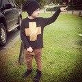 Outono padrão ouro ins nununu meninos preto camisola de manga comprida t meninos roupas de bebê