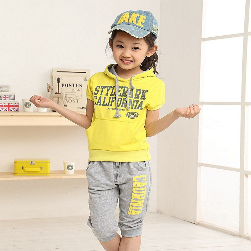2017 new Summer wear Girls Boy clothing set sports suit set clothing children outerwear coat tracksuit clothes T shirt+pant