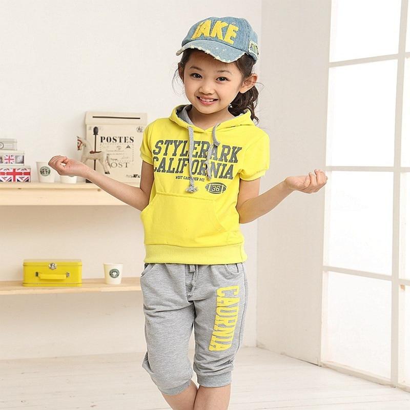2017 new Summer wear Girls Boy clothing set sports suit set clothing children outerwear coat tracksuit clothes T shirt+pant