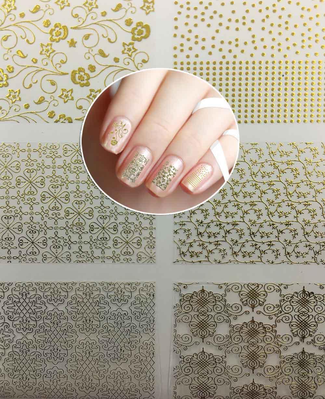 6 Folhas/lote 3D Prego de Transferência da Água da Etiqueta auto-adesiva Ouro Metálico Flor Projeta Decalques Da Arte Do Prego Brilho