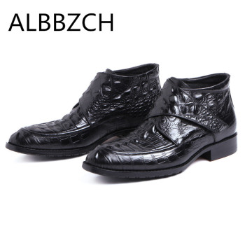Crocodile Pattern Men's Ankle Boots Autumn Winter Wedding Dress Shoes Men Fashion Embossed Genuine Leather Work Short Boots Man