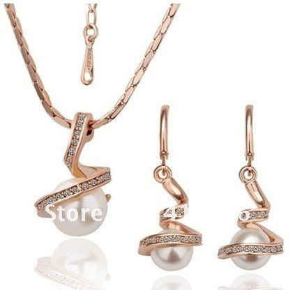 Danfosi Fashion Jewelry Rose Gold Plated Simulated Pearl Pendant Necklace Earrings Sets Women Accessories