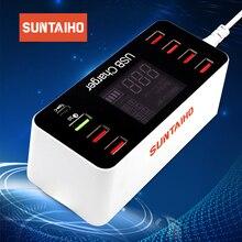 Estación de carga rápida Carga USB 3,0 4,0 40W PD Smart USB tipo C estación de carga rápida pantalla Led para cargador de iPhone