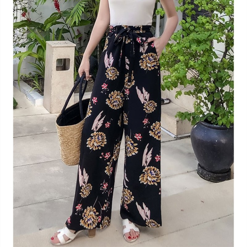 Pottis Beach Print Fashion   Wide     Leg     Pants   2018 Summer Vacation Bohemia   Wide     Leg     Pants   Large Size Beach Print   pants