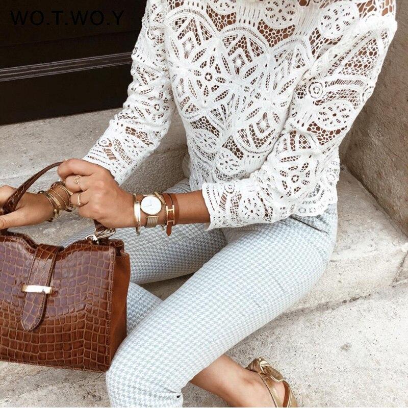 WOTWOY White Hollow Out Blouse Women Lace Boho Korean Lolita Streetwear Shirt Wo