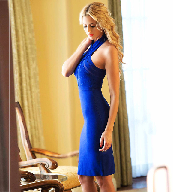 New Summer Evening Party Dresses Women Sexy Vestidos Halter Neck Red Blue White Apricot Black Bodycon Bandage Dress 2018